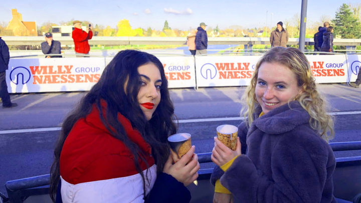 Two girls at the cyclocross in Kortrijk